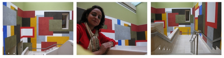 Coloured walls for the Barabara Hepworth exhibition. Copyright: Poulomi Das.