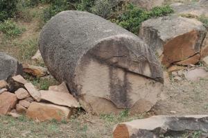 Close up of an incomplete sandstone boulder