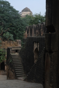 Steps and entrances leading to stories within the fort