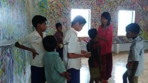 Interacting with the schoolchildren