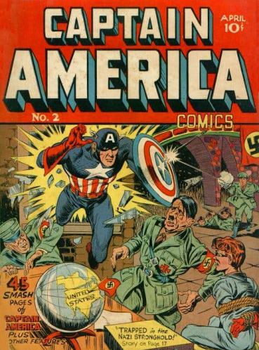 Captain America. https://www.cbr.com/comic-book-questions-answered-how-was-world-war-ii-depicted-in-comics-during-world-war-ii/
