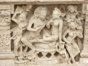 Parvati is usually cradled by Shiva, Abhaneri, 12th century