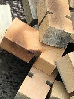 Wooden blocks being dried