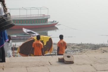 Cleaning the Ganga. Assi Ghat, Varanasi