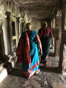Bonding with the past. Undavalli Caves, Andhra Pradesh