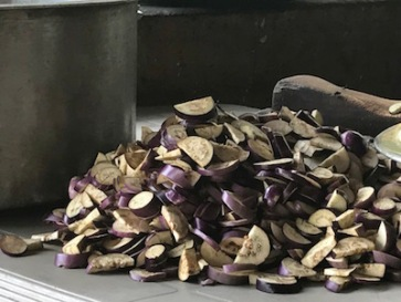 Aubergine, freshly chopped for cooking