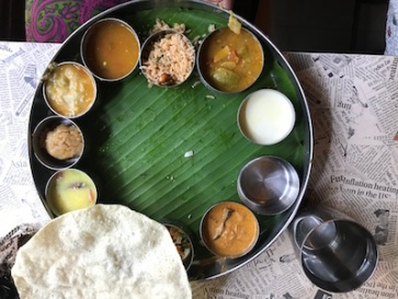 The South Indian meal: on a banana leaf