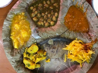 The 'thali' set for the 'aloo-puri'