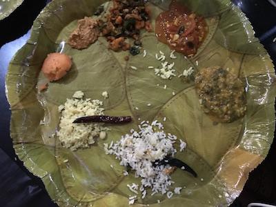 Finally, a Telugu meal on lovely 'Sal' leaf
